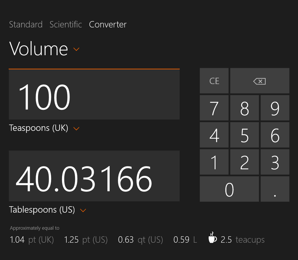 Screenshot form Windows 8 Calculator App